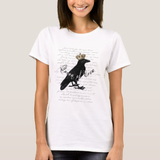 """Gothic Design """"Queen of Crow"""" Typography Collage T-Shirt"""