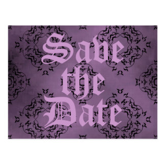 Gothic dirty purple damask casual Save the Date Post Card
