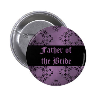 Gothic dirty purple damask Father of the Bride 6 Cm Round Badge