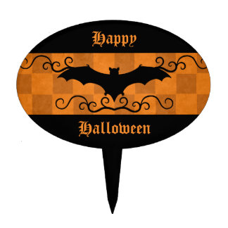 Gothic elegant bat with swirls Happy Halloween Cake Picks
