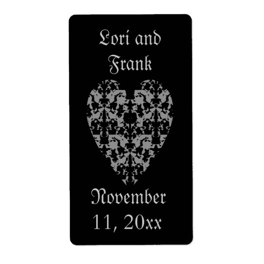Gothic elegant heart labels to personalise