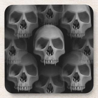 Gothic evil fanged skull Halloween horror Beverage Coasters