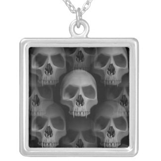 Gothic evil fanged skull Halloween horror Square Pendant Necklace