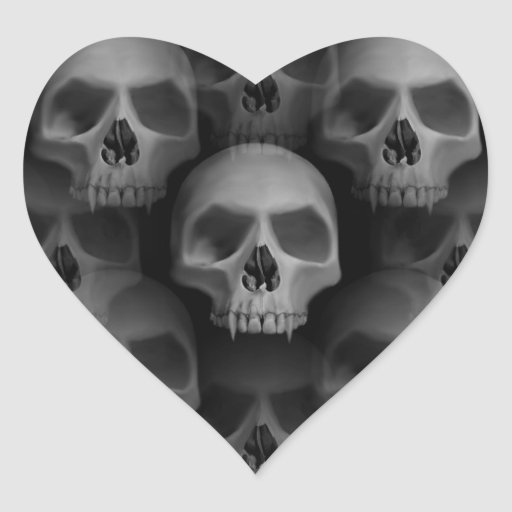 Gothic evil fanged skull Halloween horror Heart Stickers