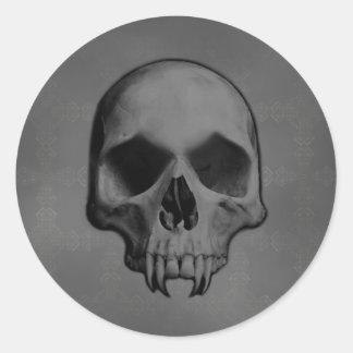 Gothic evil fanged skull Halloween horror Round Stickers