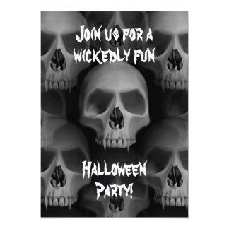 Gothic evil skull Halloween horror party Card