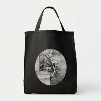 Gothic Fairy Tote Bag Black and White