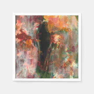 Gothic Figurative Painting, Abstract Floral Art Disposable Napkins
