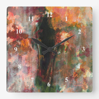 Gothic Figurative Painting, Abstract Floral Art Square Wall Clock