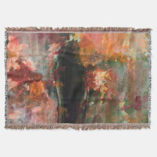 Gothic Figurative Painting, Abstract Floral Art Throw Blanket