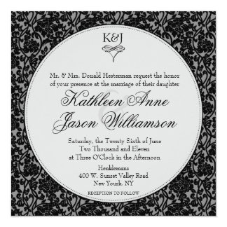 "Gothic Floral Damask Monogram Wedding Invitation 5.25"" Square Invitation Card"
