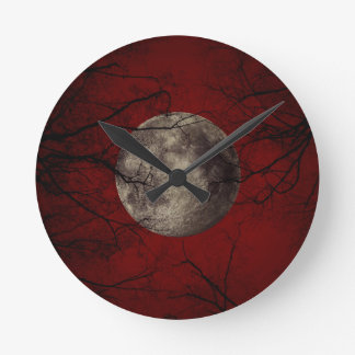 Gothic Full Moon with Haunting Trees Clock