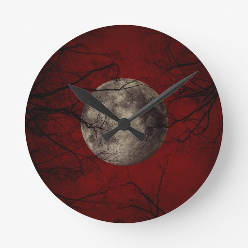Gothic Full Moon with Haunting Trees Wallclock