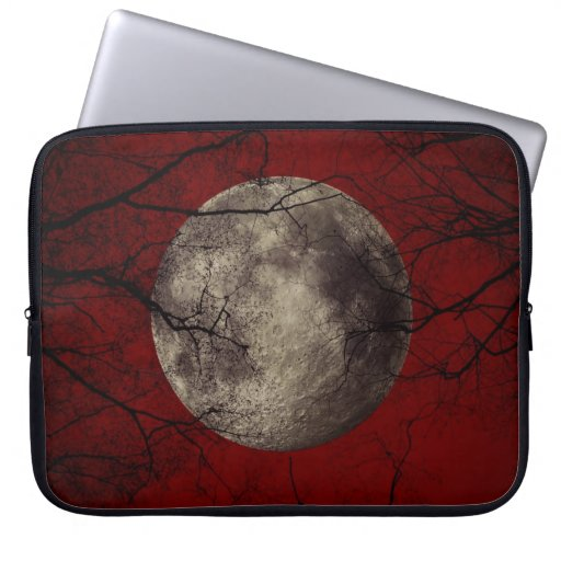 Gothic Full Moon with Haunting Trees Laptop Sleeves