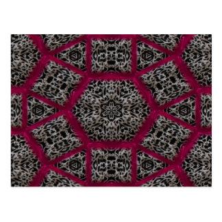 Gothic Fuschia Black White Veiny Mosaic Postcard