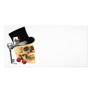 Gothic gambler skull tattoo design photo card
