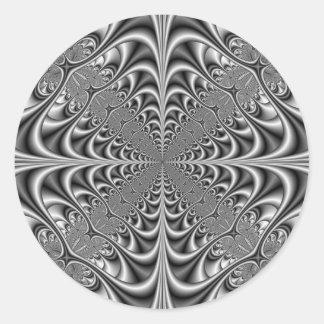 Gothic Geometry in Monochrome Round Sticker
