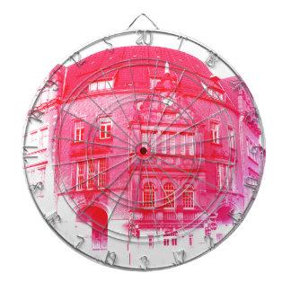 gothic german building digital effect red tint dartboard