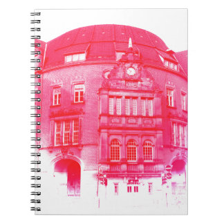gothic german building digital effect red tint notebook