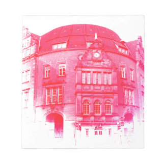 gothic german building digital effect red tint notepad