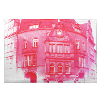 gothic german building digital effect red tint placemat