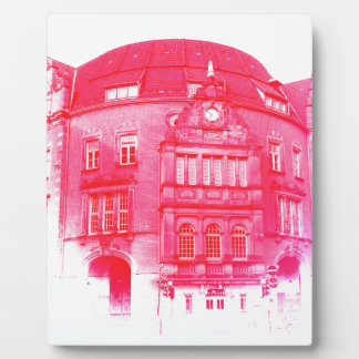gothic german building digital effect red tint plaque