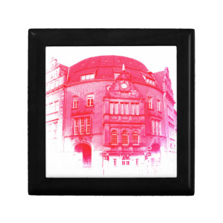 gothic german building digital effect red tint small square gift box