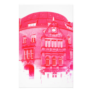 gothic german building digital effect red tint stationery