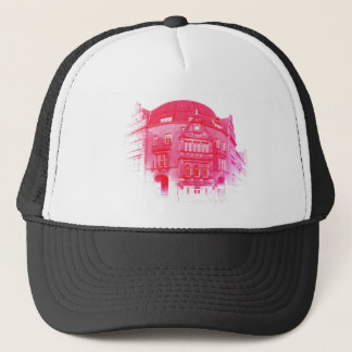 gothic german building digital effect red tint trucker hat