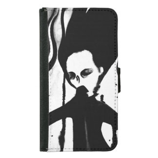Gothic ghost lady phone wallet hand painted