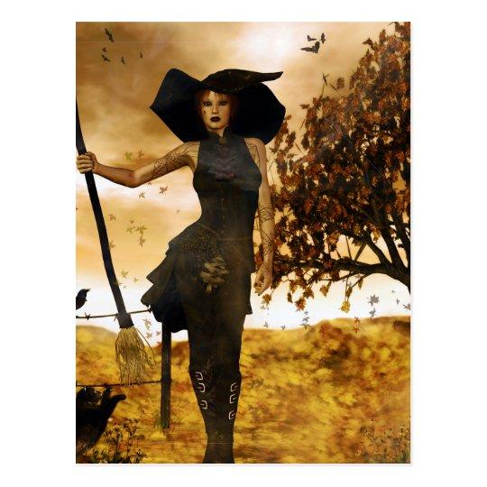 Gothic Girl Autumn Witch Postcard