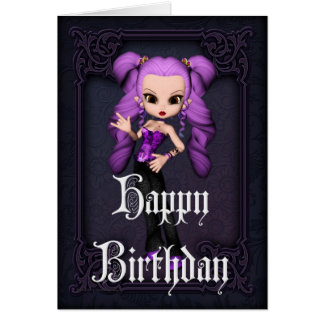 Gothic Girl Design 1 Happy Birthday Card