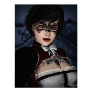 Gothic Girl with Ruby Necklace Poster