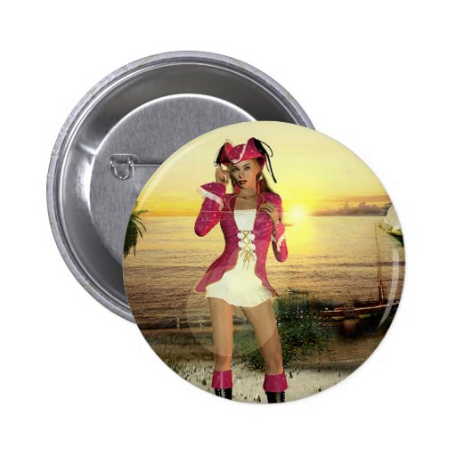 Gothic Girls Pirate Sundown Pinback Button