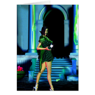 Gothic Girls Witch Fire greeting card