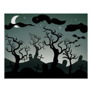 Gothic Graveyard graves trees Poster