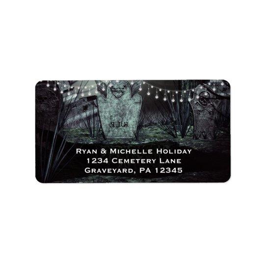 Gothic Graveyard with Enchanting Lights Address Address Label