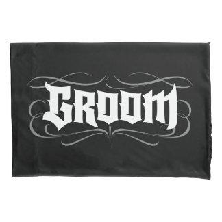 Gothic Groom Hand Lettering - Modern Grunge Tattoo Pillowcase