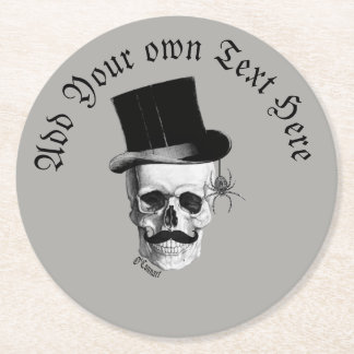 Gothic grooms skull round paper coaster
