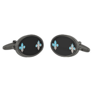 Gothic Grunge Fleur De Lis Casual Cufflinks Gunmetal Finish Cuff Links