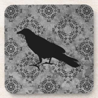 Gothic Halloween black crow raven on gray Coasters