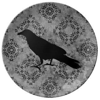 Gothic Halloween black crow raven on gray Porcelain Plate
