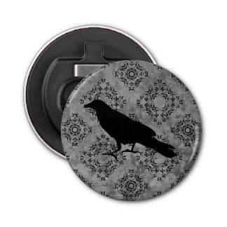 Gothic Halloween black crow raven on gray Button Bottle Opener