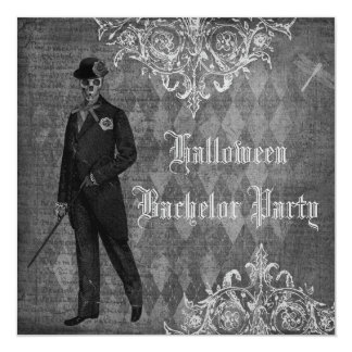 Gothic Halloween Groom Shabby Chic Bachelor Party Card