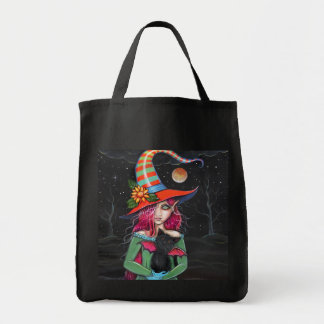 Gothic Halloween Witch Cat Tote Bag