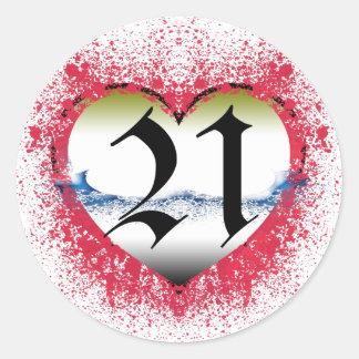 Gothic Heart 21st Round Stickers