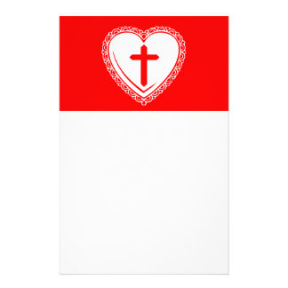 Gothic Heart + Cross (Red + White) Customized Stationery