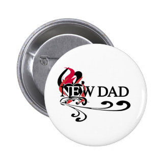 Gothic Heart New Dad 6 Cm Round Badge