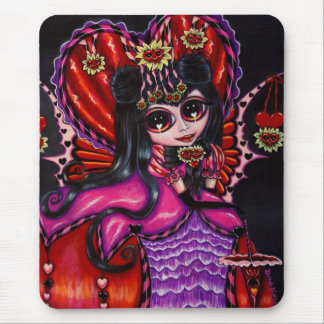 Gothic Hearts & Flowers Victorian Fairy Girl Doll Mouse Pad