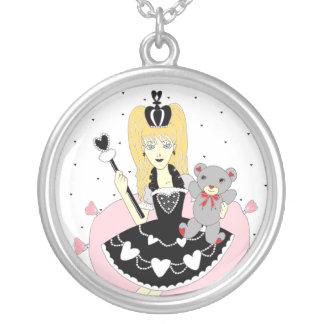 Gothic Hearts Princess Round Pendant Necklace